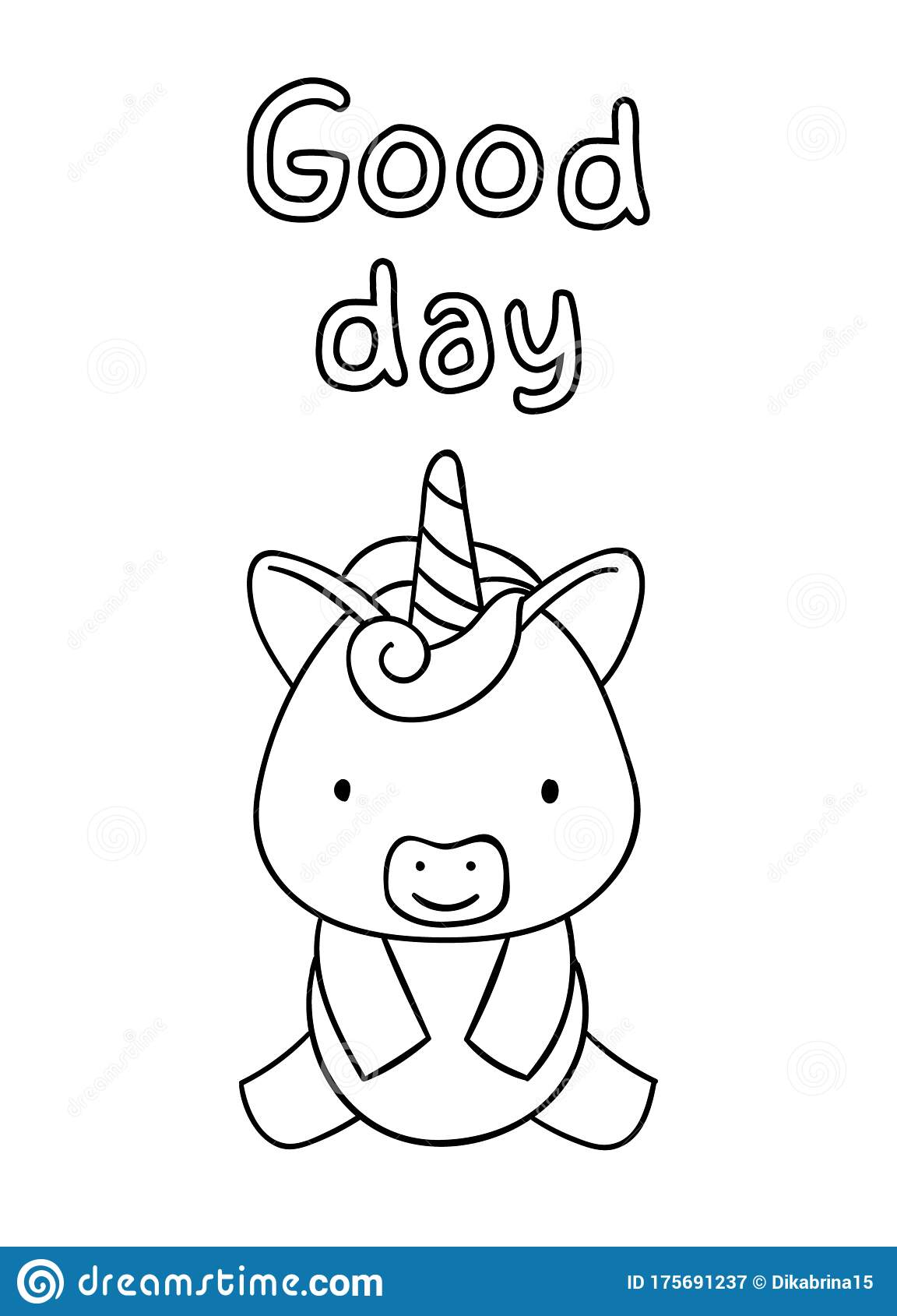 Coloring Pages, Black And White Cute Hand Drawn Unicorn ...