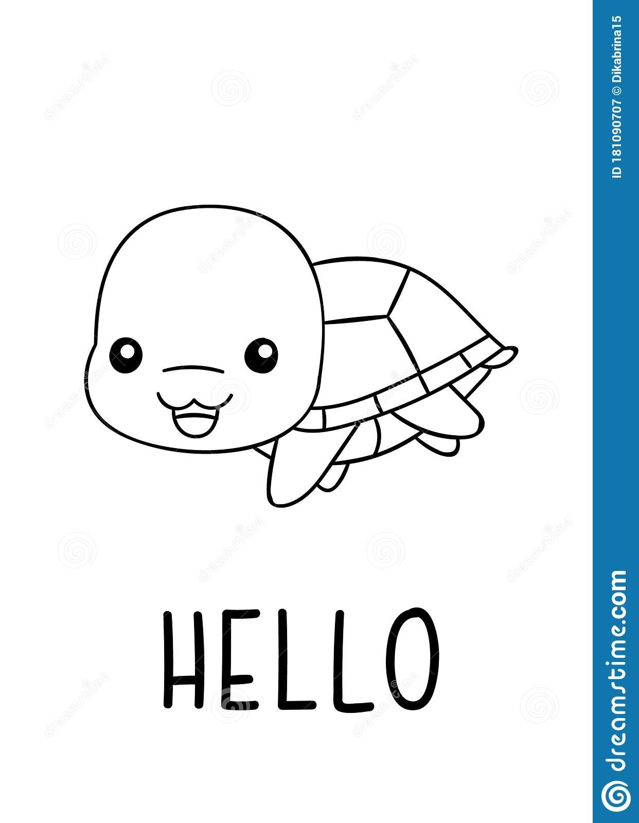 Coloring Pages Black And White Cute Kawaii Hand Drawn Turtle Doodles Lettering Hello Stock Vector Illustration Of Smile Hello 181090707