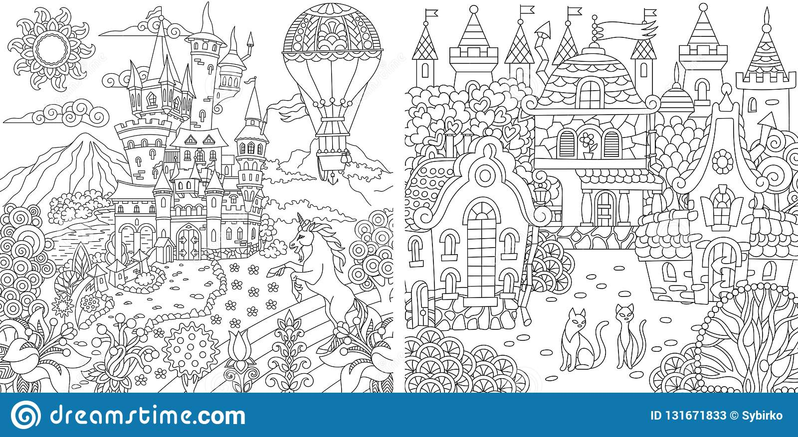 Coloring pages coloring book for adults colouring pictures with fantasy castles and houses drawn