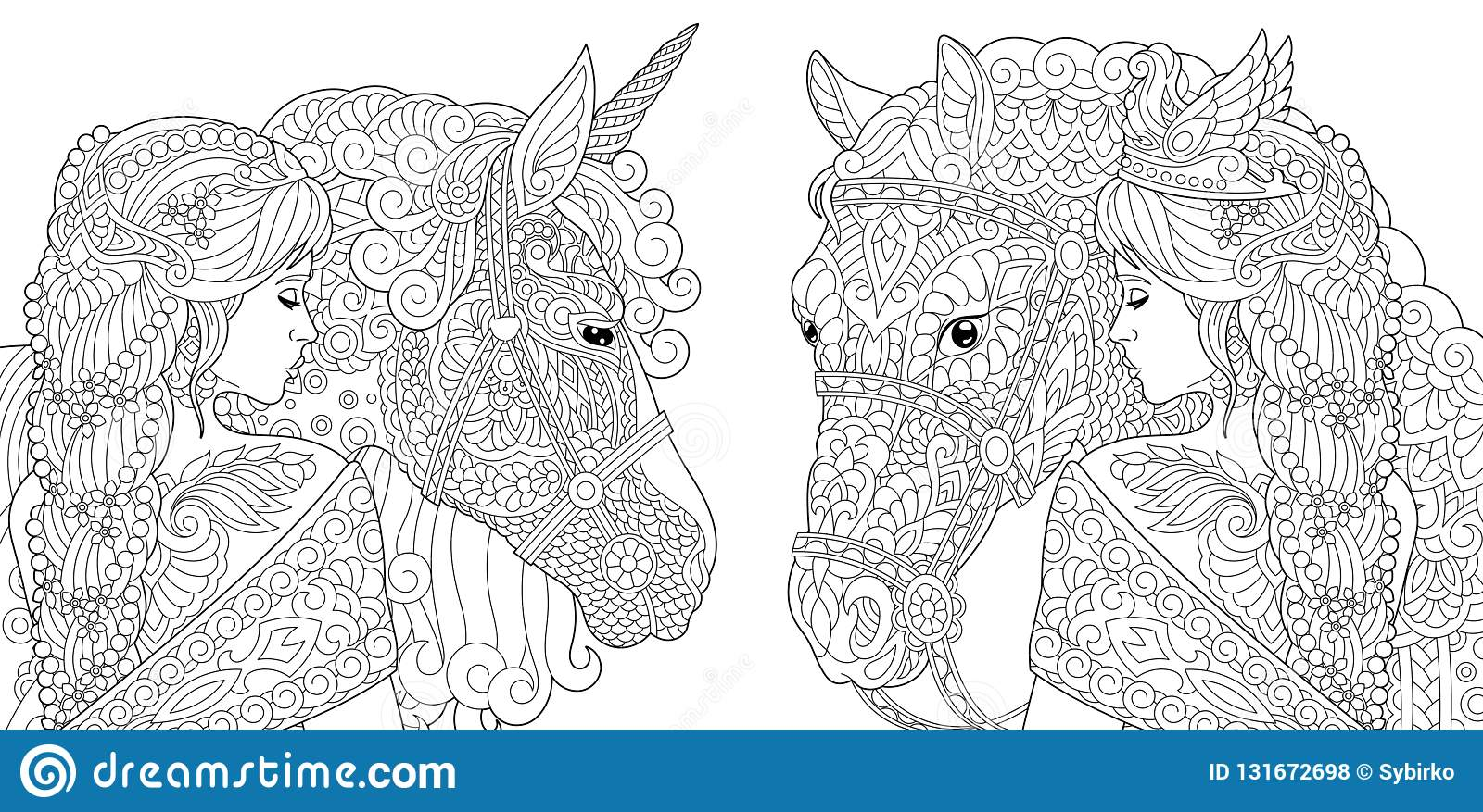 Coloring pages coloring book for adults colouring pictures with fantasy girl and unicorn horse