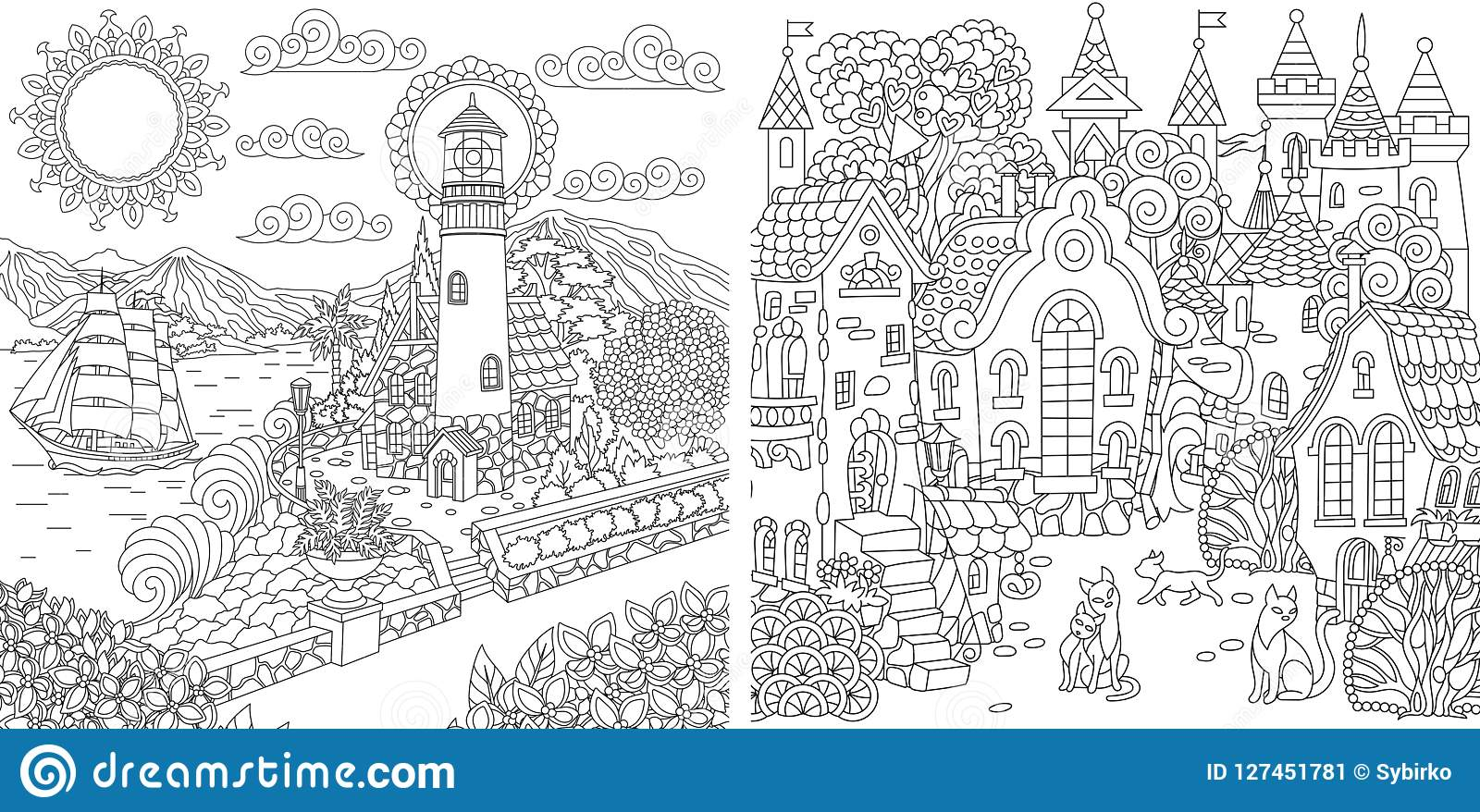 Coloring pages with town landscapes