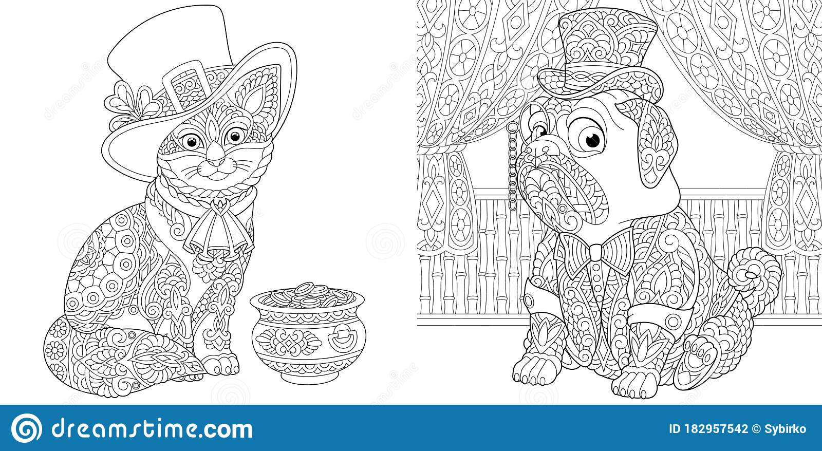 Coloring Pages With Cat And Pug Dog Stock Vector Illustration Of Doodle Gentleman 182957542