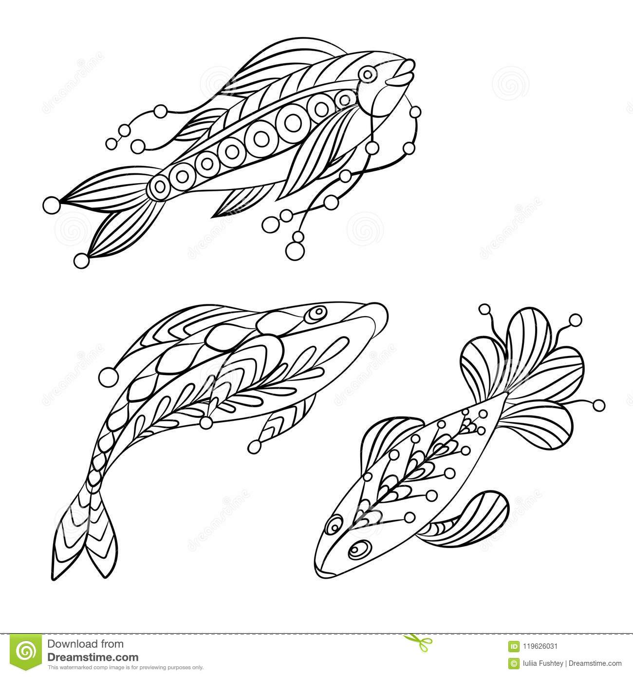 Coloring Pages For Children And Adults With Set Of Ocean Fishes ...