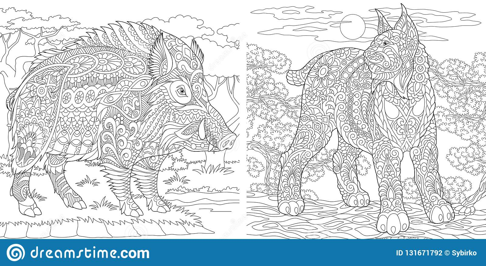 Coloring Pages. Coloring Book for adults. Colouring pictures with wildcat and wild boar. Antistress freehand sketch drawing with