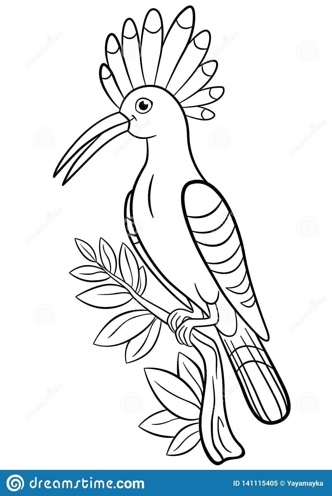 Coloring pages. Cute beautiful hoopoe sits on the tree branch