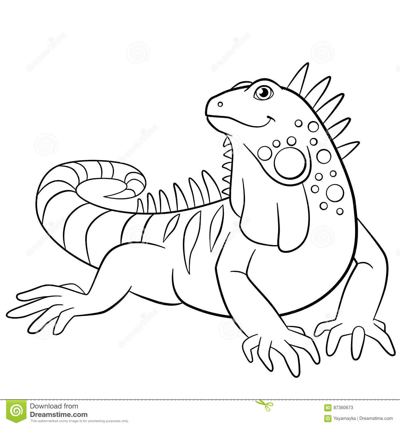 Coloring Pages Cute Iguana Smiles Stock Vector Illustration Of
