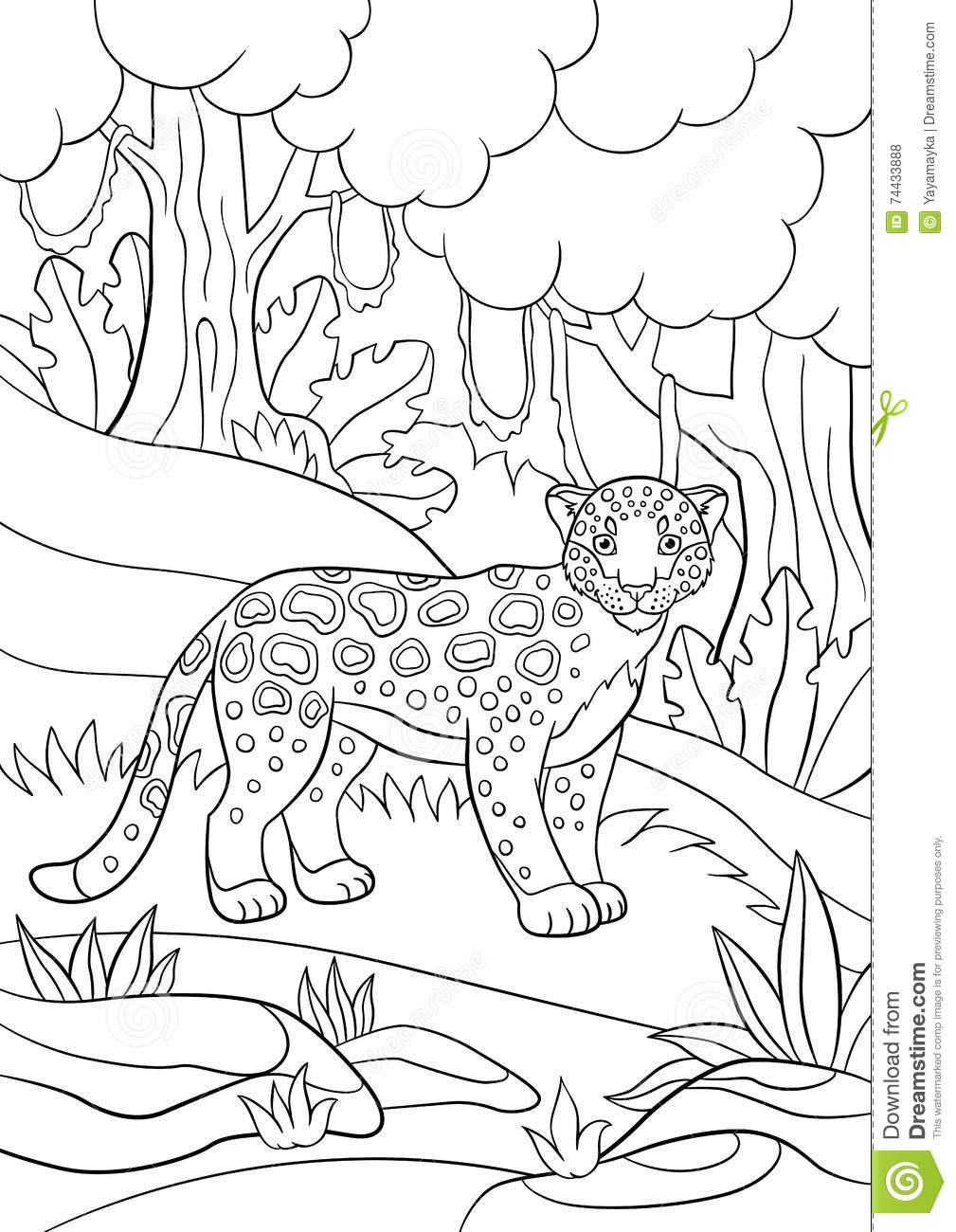 Coloring Pages Cute Spotted Jaguar In The Forest Stock Vector