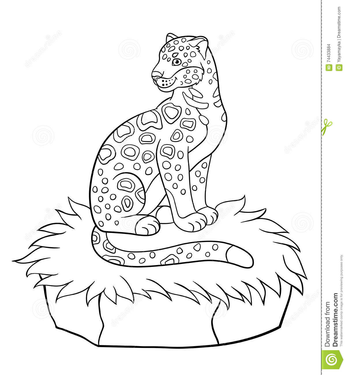 Coloring Pages Cute Spotted Jaguar Smiles Stock Vector
