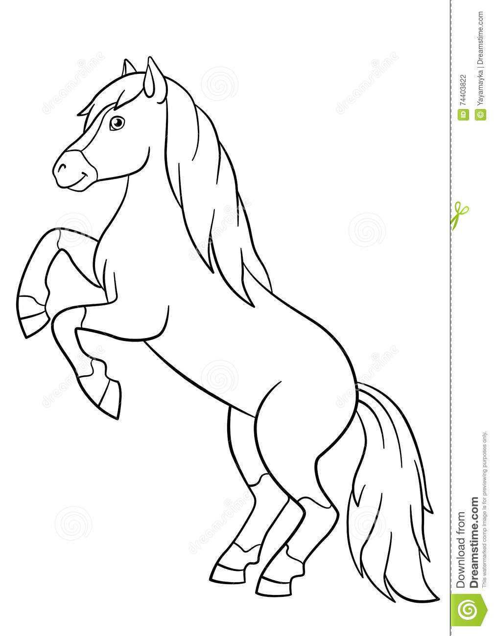 Coloring Pages. Farm Animals. Beautiful Horse. Stock Vector ...
