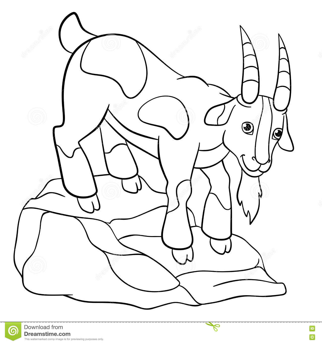 Coloring Pages. Farm Animals. Cute Billy Goat. Stock Vector ...