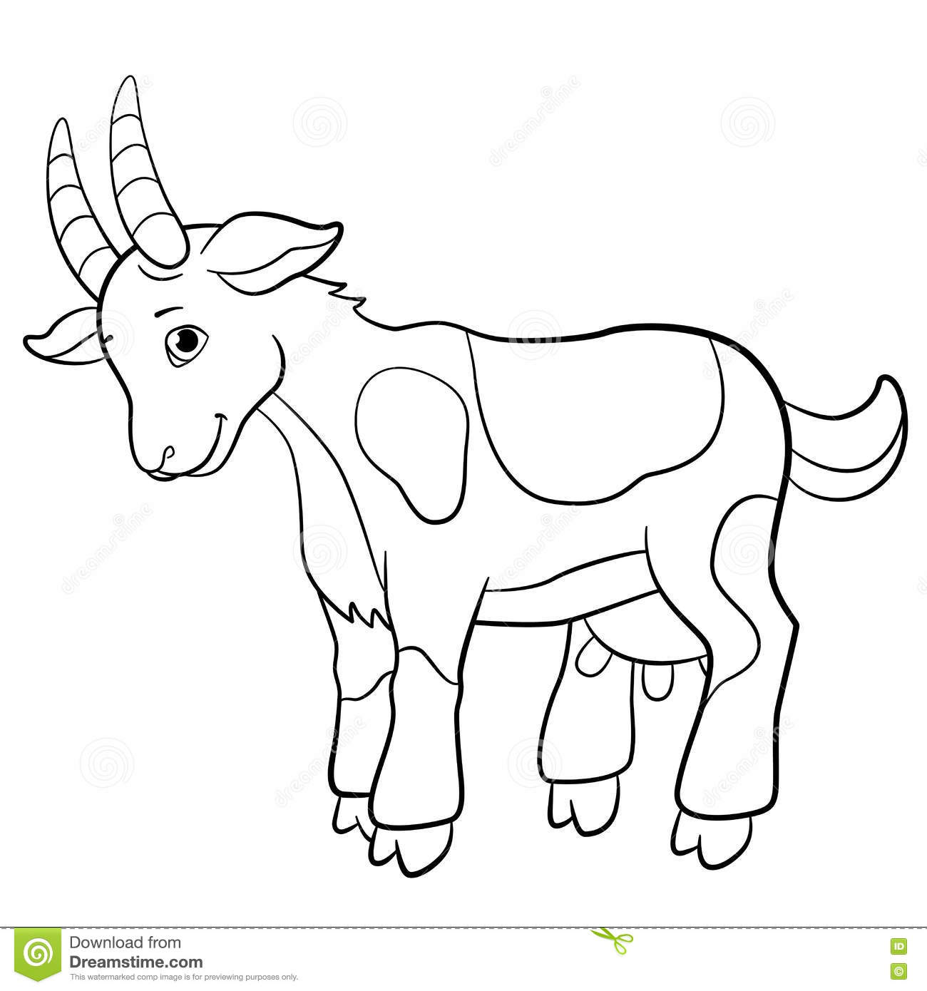 Coloring Pages. Farm Animals. Cute Goat. Stock Vector - Illustration ...