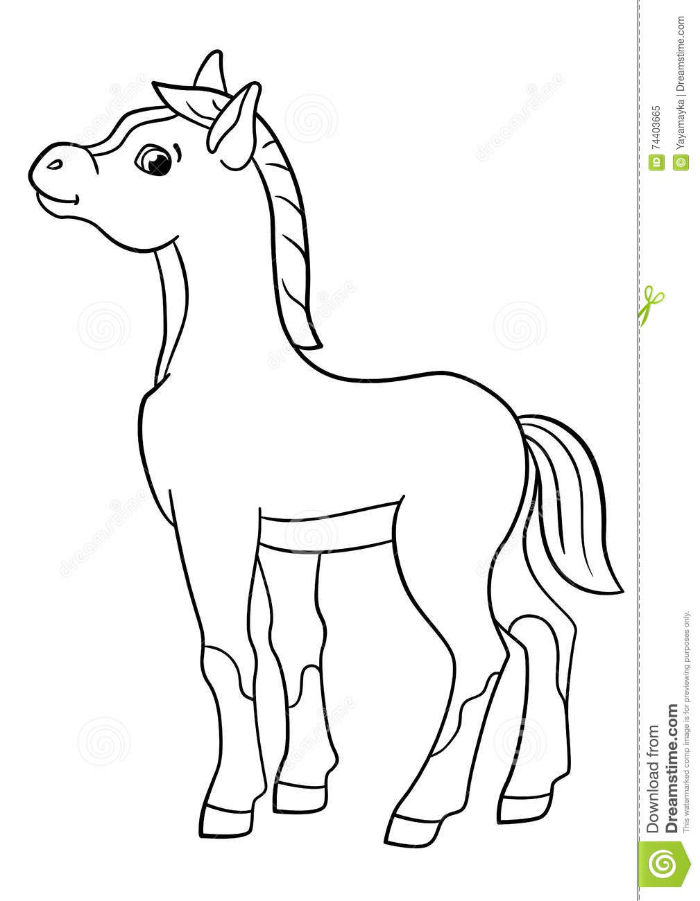 Coloring Pages. Farm Animals. Little Cute Foal. Stock Vector ...