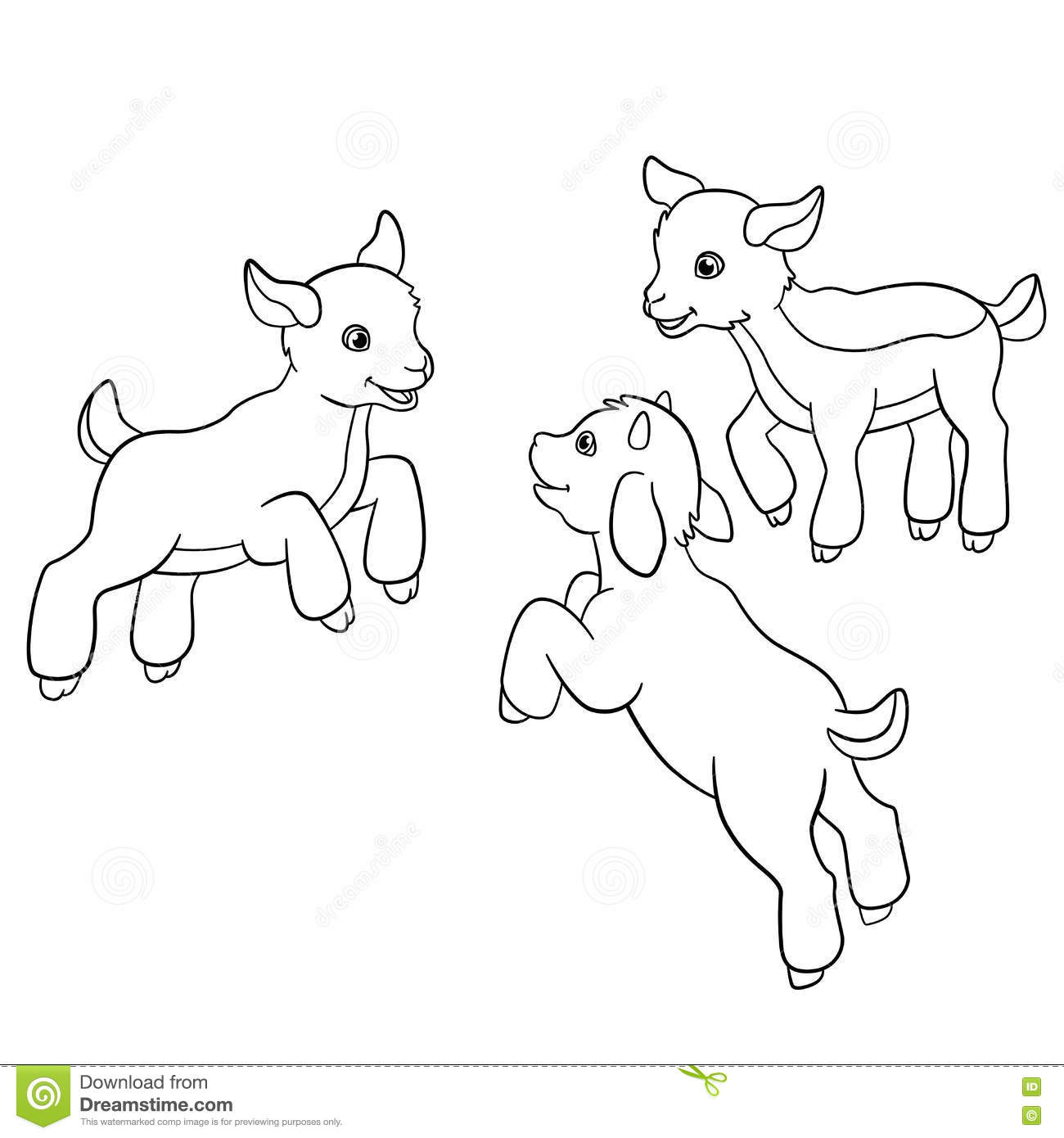 Coloring Pages. Farm Animals. Little Cute Goatlings. Stock Vector ...