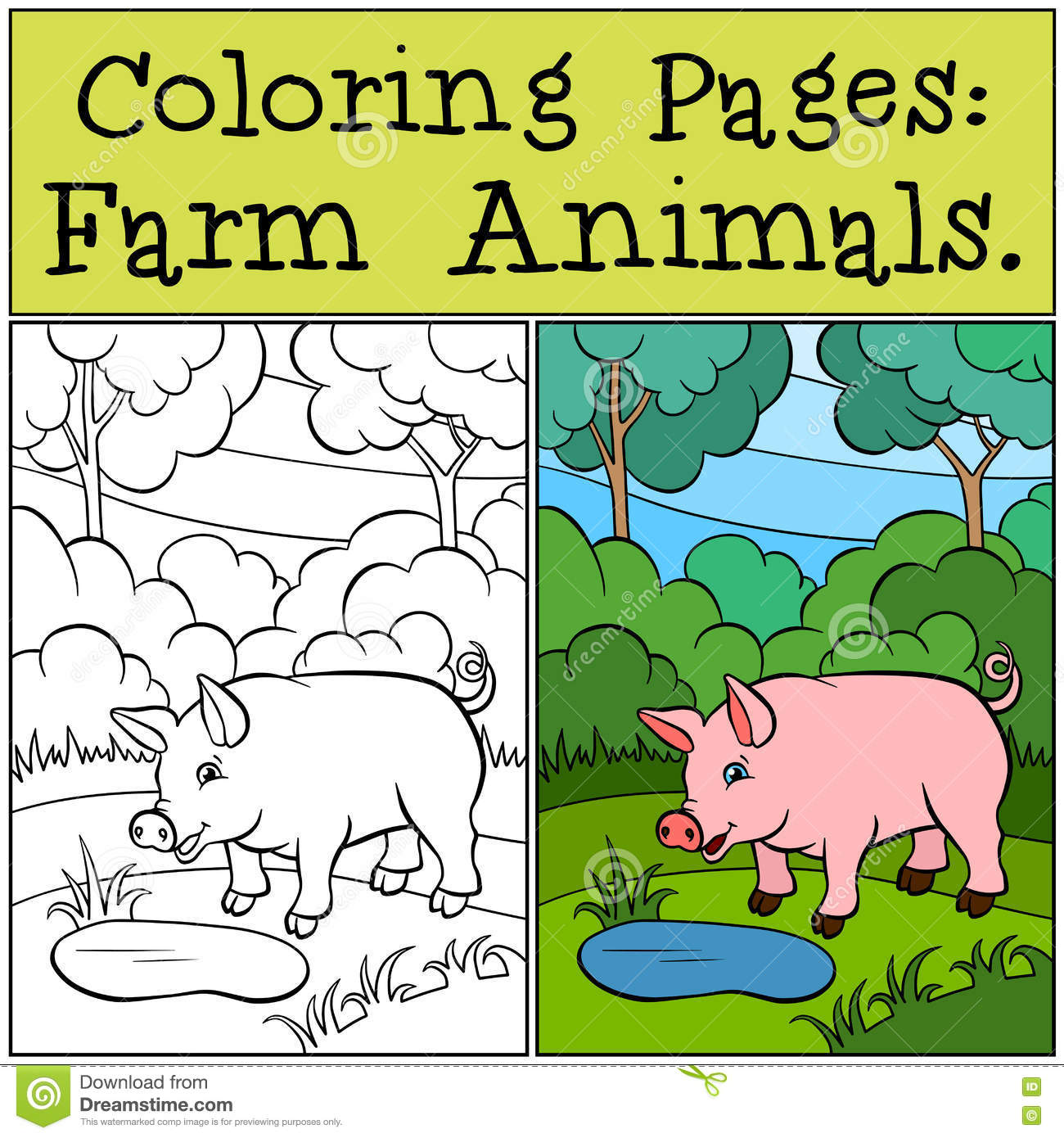 Coloring Pages: Farm Animals. Little Cute Pig. Stock Vector ...