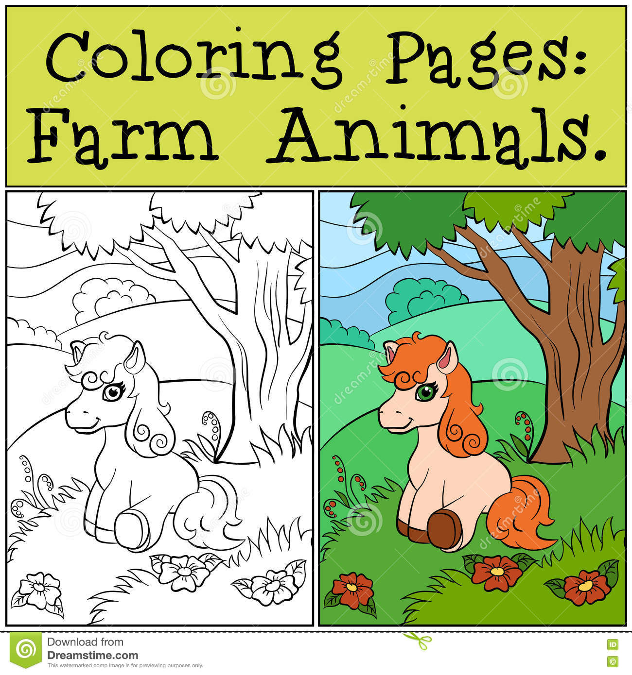 Coloring Pages: Farm Animals. Little Cute Pony. Stock Vector ...