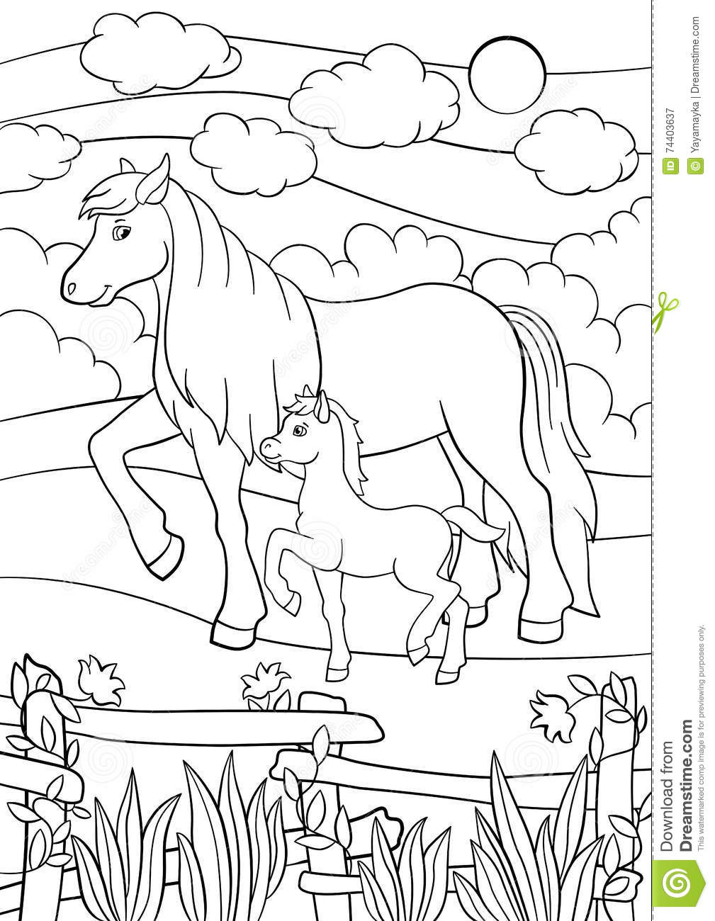 Coloring Pages. Farm Animals. Mother Horse With Foal ...