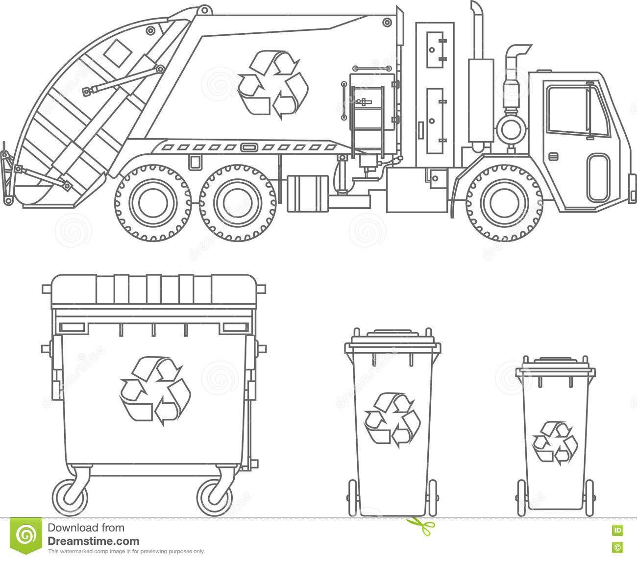Coloring Pages Garbage Truck And Different Types Of Dumpsters On