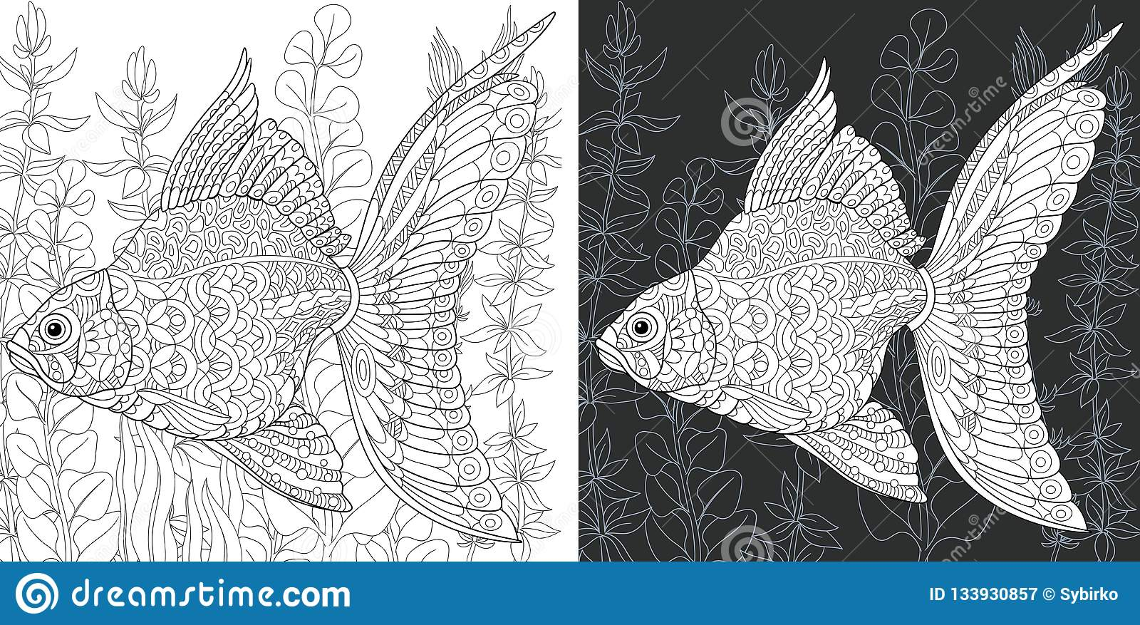 Coloring Pages With Gold Fish Stock Vector - Illustration of black ...