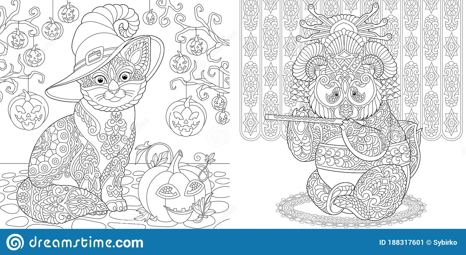 Coloring Pages With Halloween Cat And Panda Geisha Stock Vector Illustration Of Creature Design 188317601