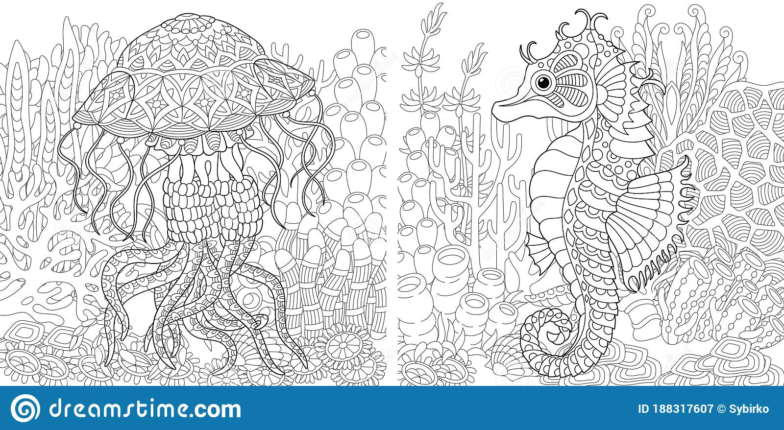 Coloring Pages With Jellyfish And Seahorse Stock Vector Illustration Of Freehand Beautiful 188317607