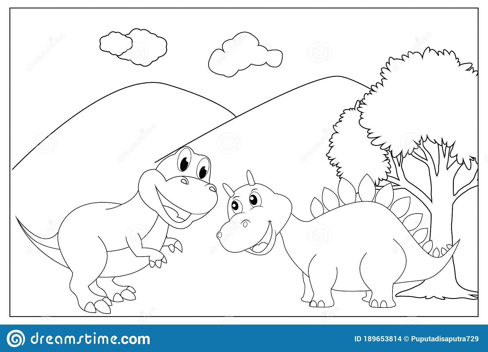 Coloring Pages For Kids With Cute Dinosaur Stock Vector Illustration Of Children Collection 189653814