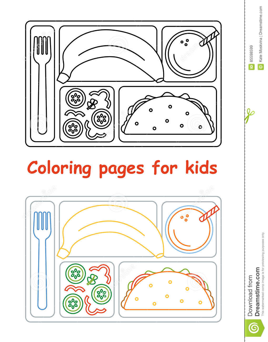 Coloring Pages For Kids With Lunch Tray Stock Vector Illustration Of Menu Juice 85598599