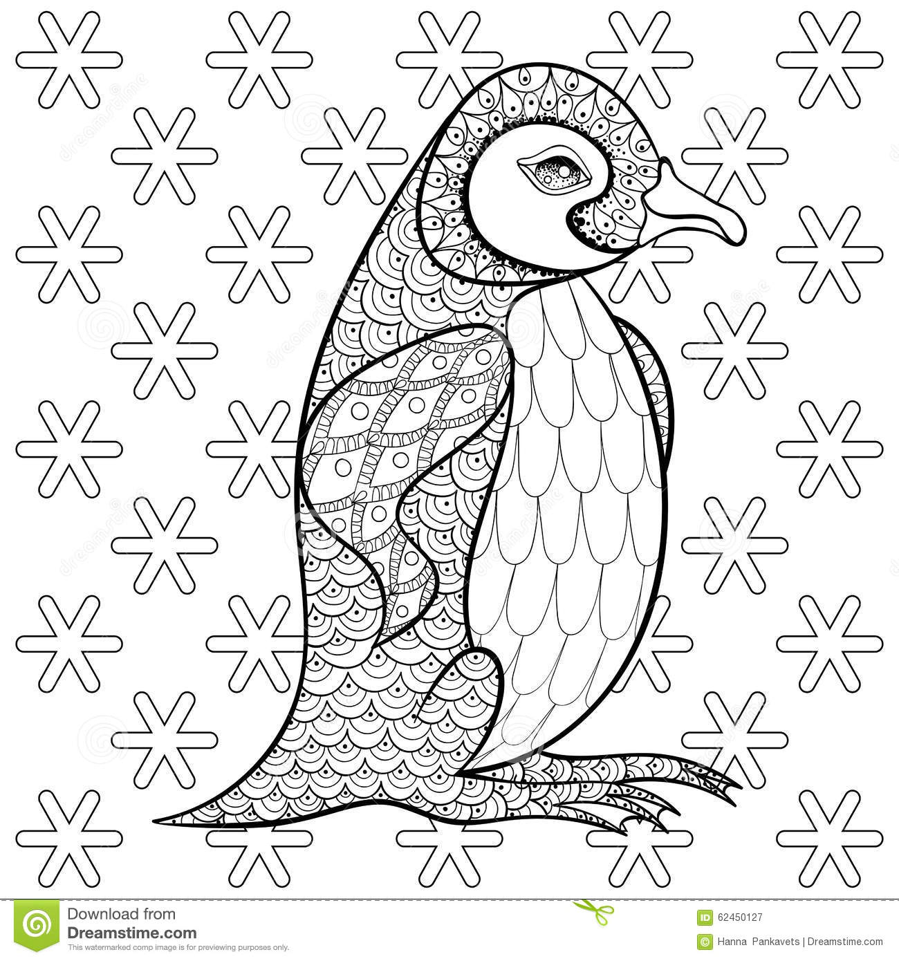 coloring pages with king penguin among snowflakes zentangle ill