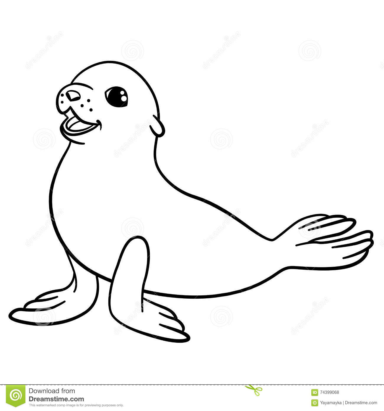Coloring pages. Mother seal with her ... | Stock vector | Colourbox | 1390x1300