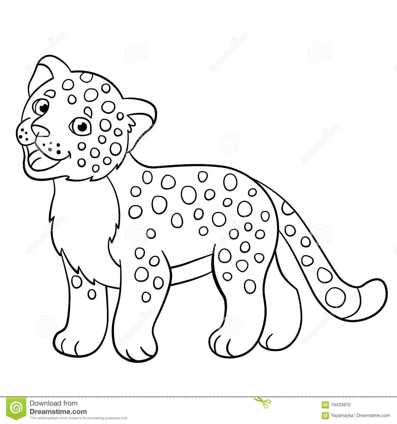 Coloring Pages Little Cute Baby Jaguar Smiles Stock Vector Illustration Of Cartoon Coloring 74433910