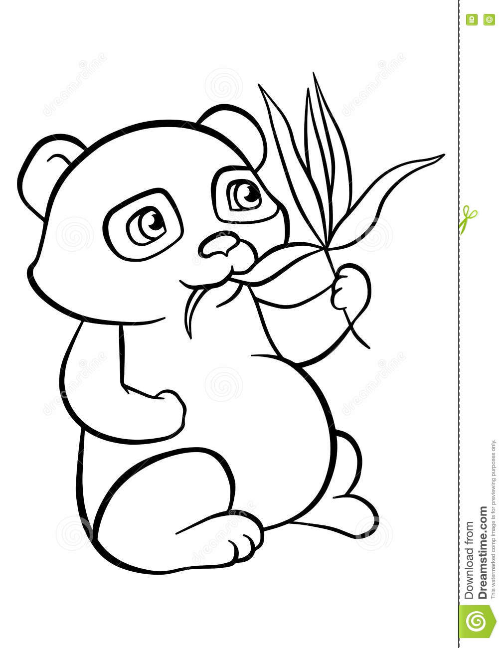 Coloring pages little cute panda stock vector illustration of