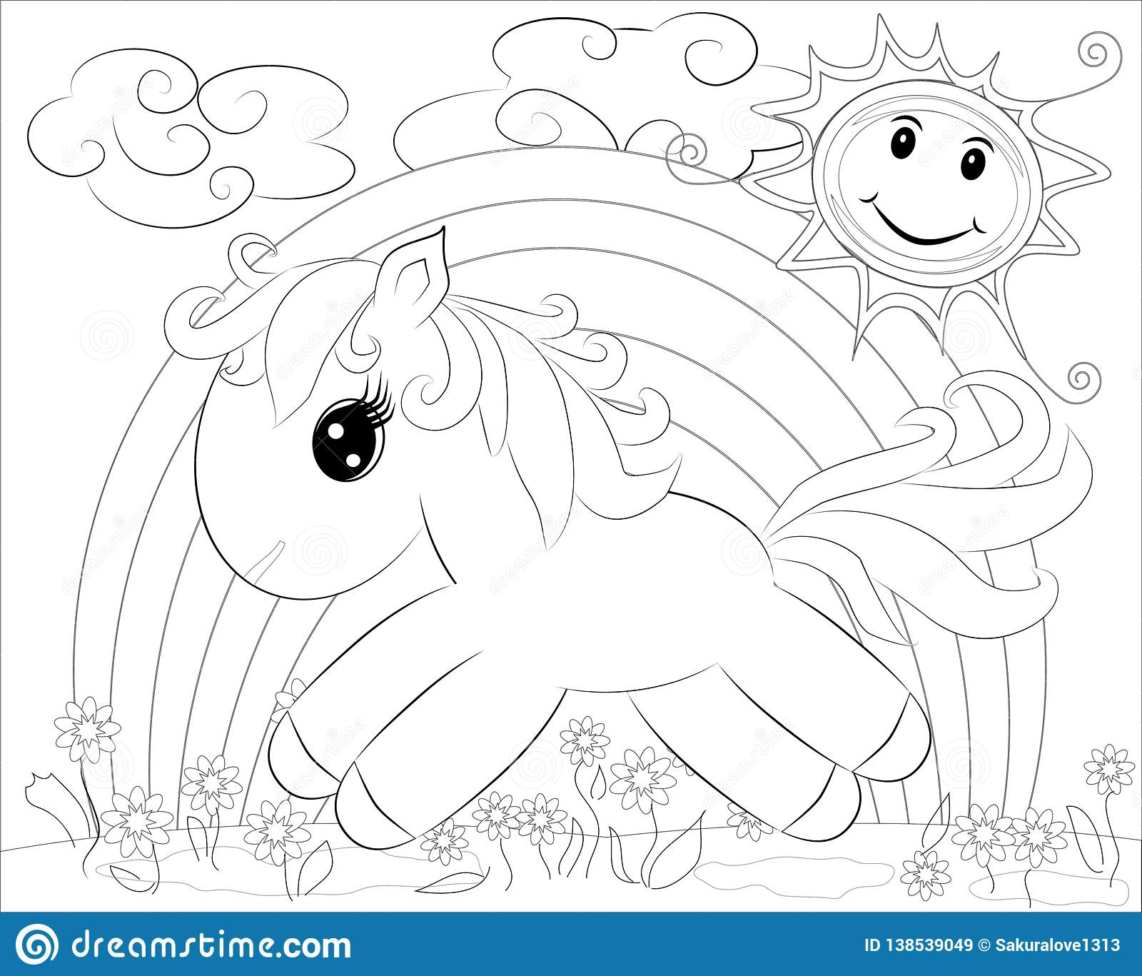 Coloring Pages. Little Pony And Rainbow Stock Illustration ...