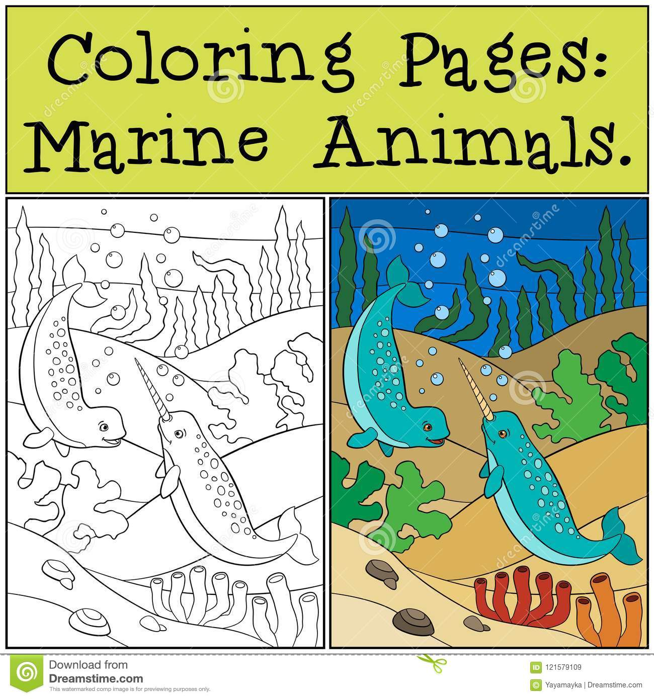 Coloring Pages Marine Animals Two Little Cute Narwhals Swim
