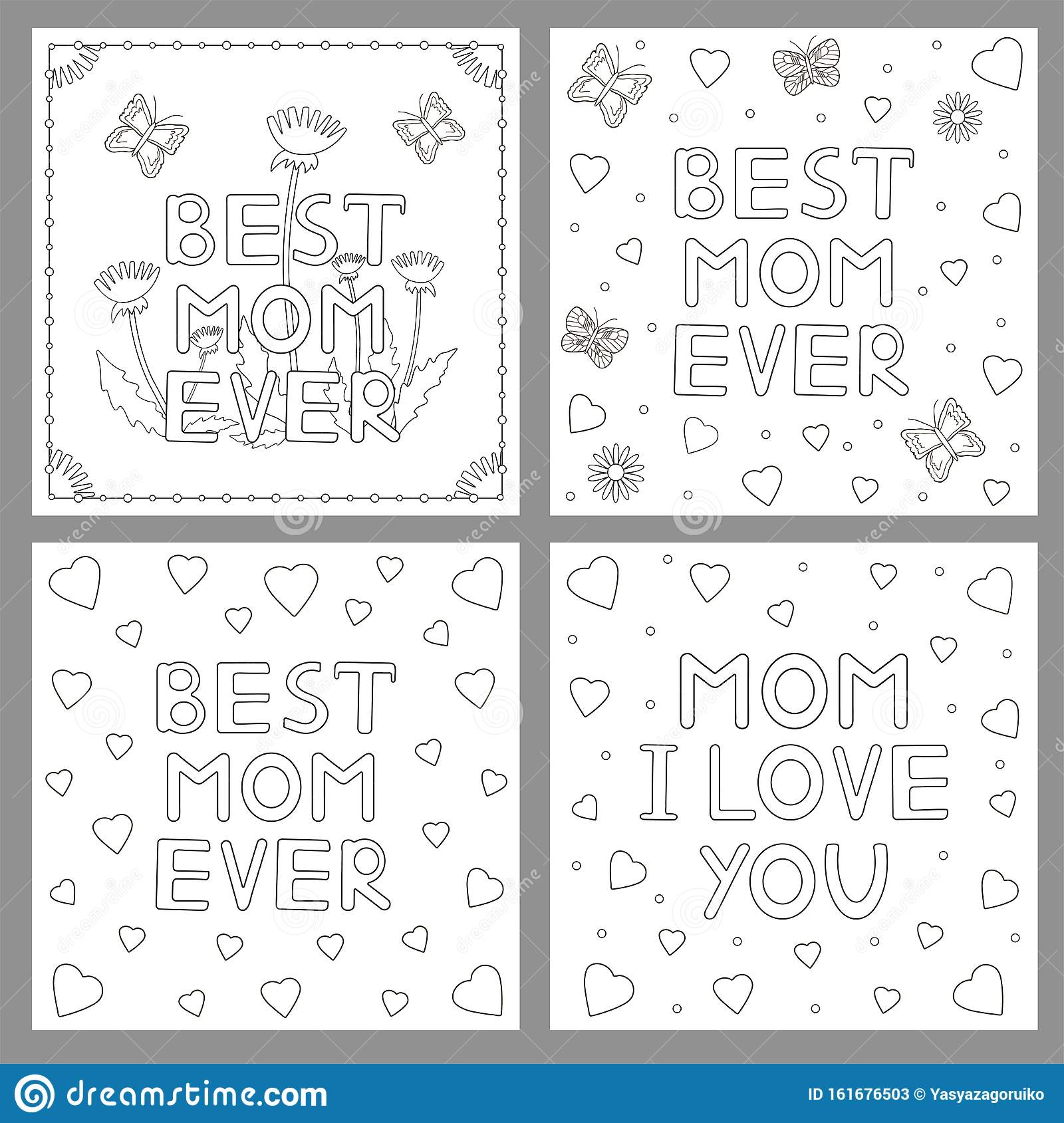 Coloring Pages Mother Day Cards Flowers Hearts And Butterflies Stock Illustration Illustration Of Design Mama 161676503