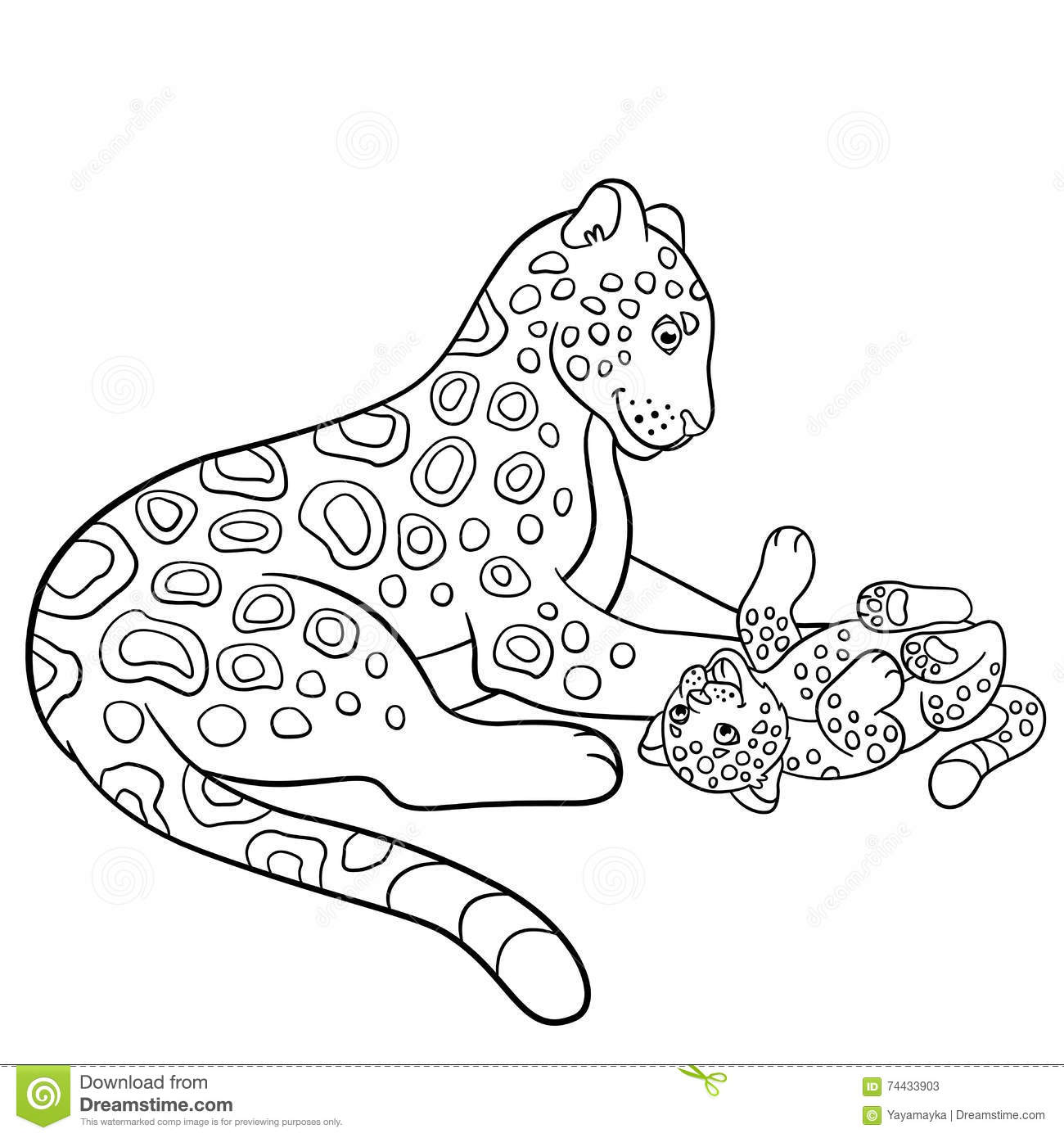 Download Coloring Pages Mother Jaguar With Her Little Cub Stock Vector