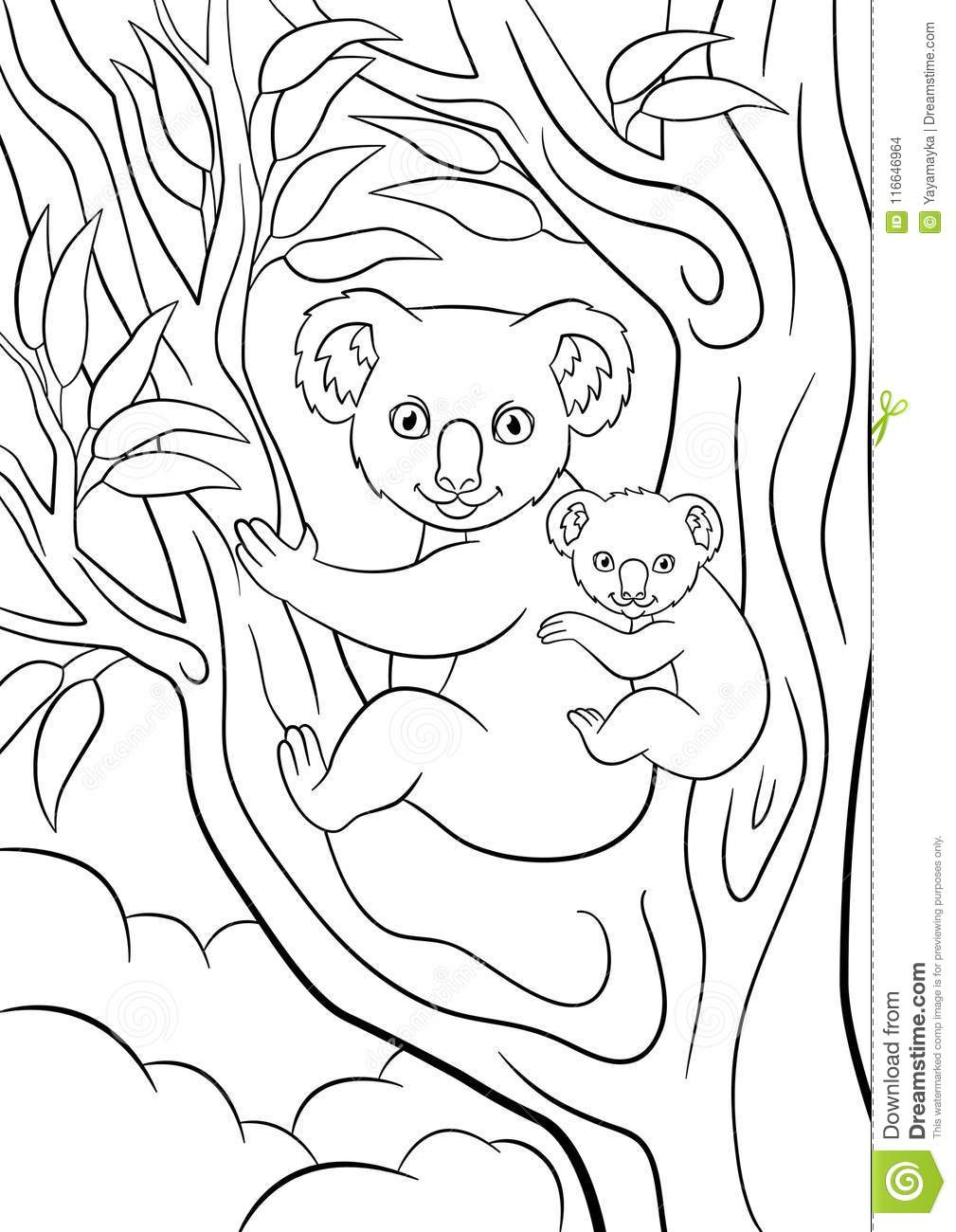 Coloring Pages Mother Koala With Her Little Cute Baby Stock Vector Illustration Of Baby Kindergarten 116646964