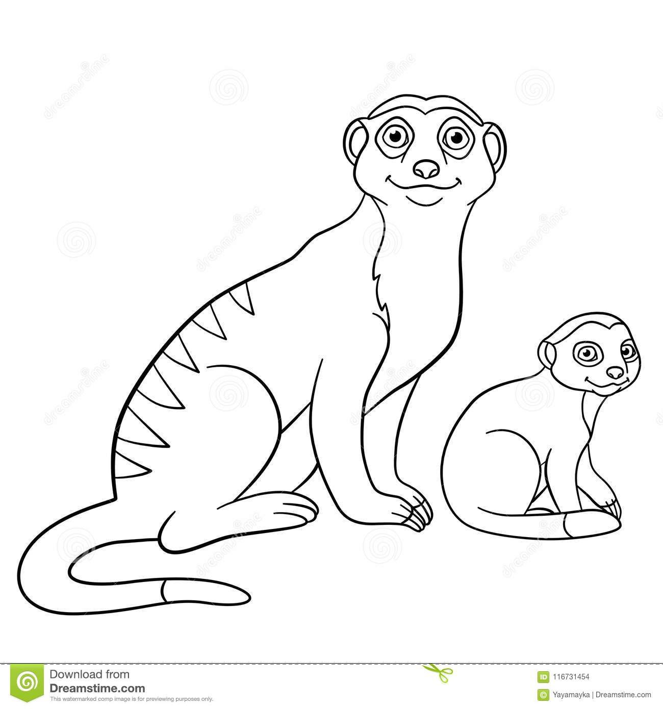 Coloring Pages. Mother Meerkat With Her Little Cute Babies Stock ...
