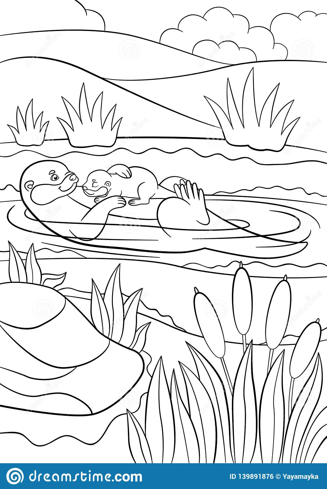 Coloring Pages. Mother Otter Swims With Her Little Cute Baby In ... | 1689x1131
