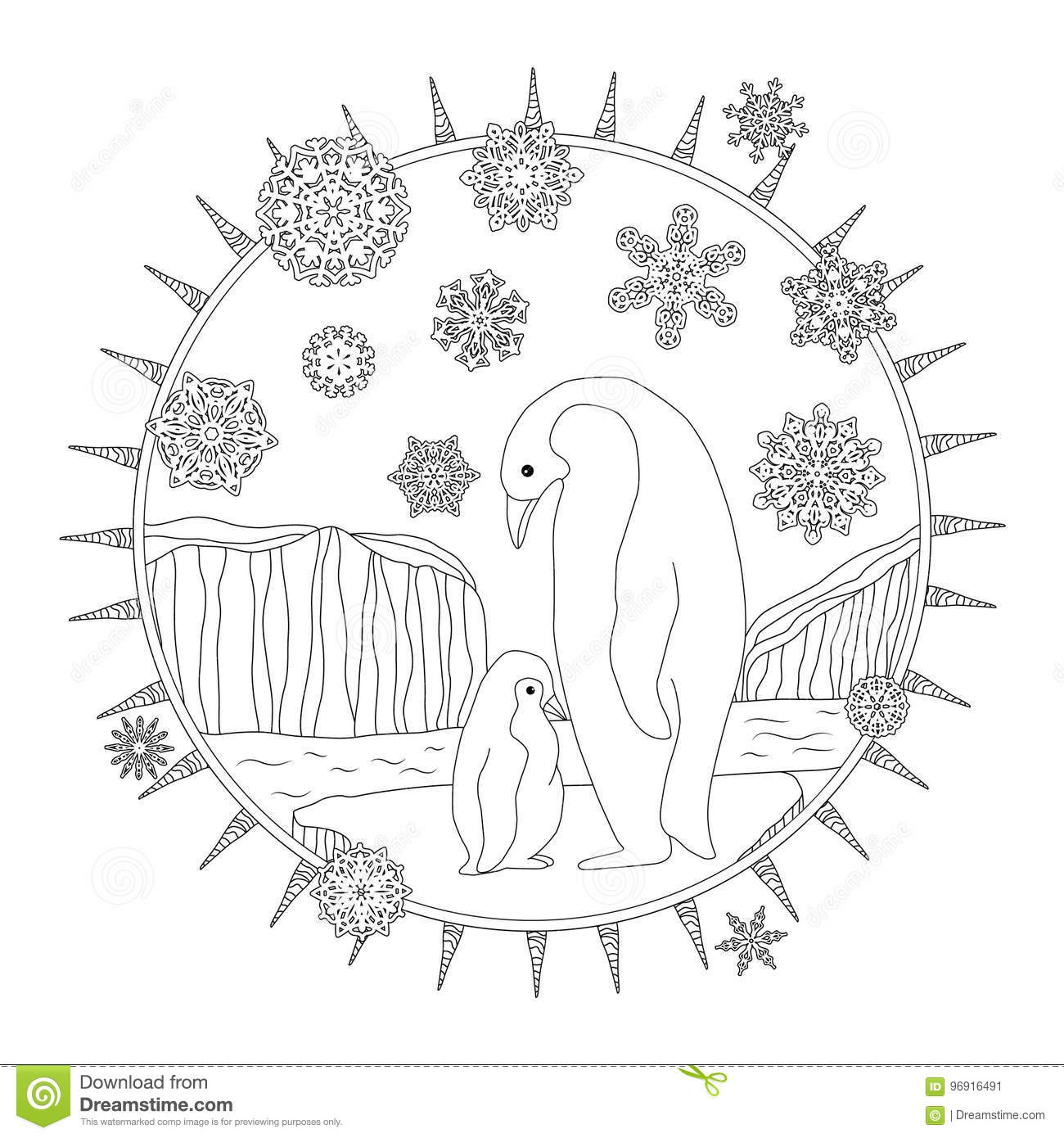Coloring Pages Mother Penguin Stands With Her Little Cute