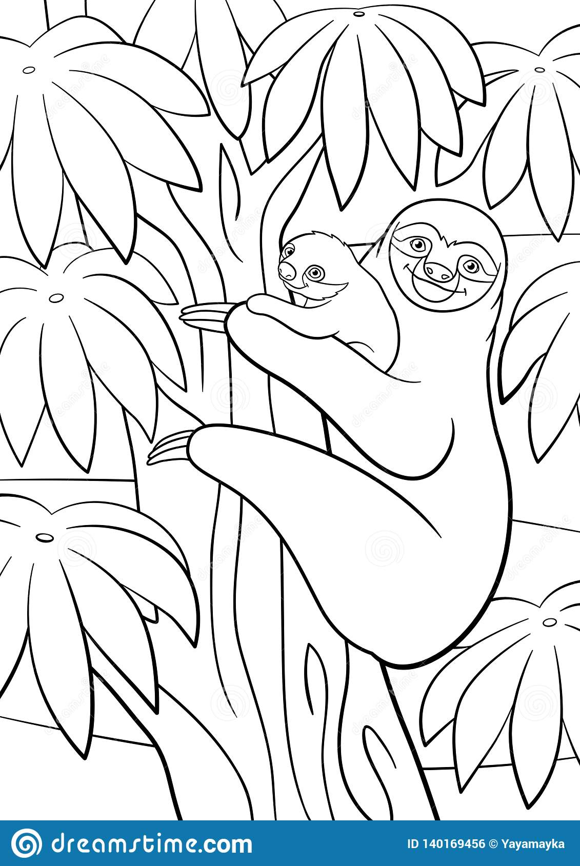 - Coloring Pages. Mother Sloth With Her Little Cute Baby Stock