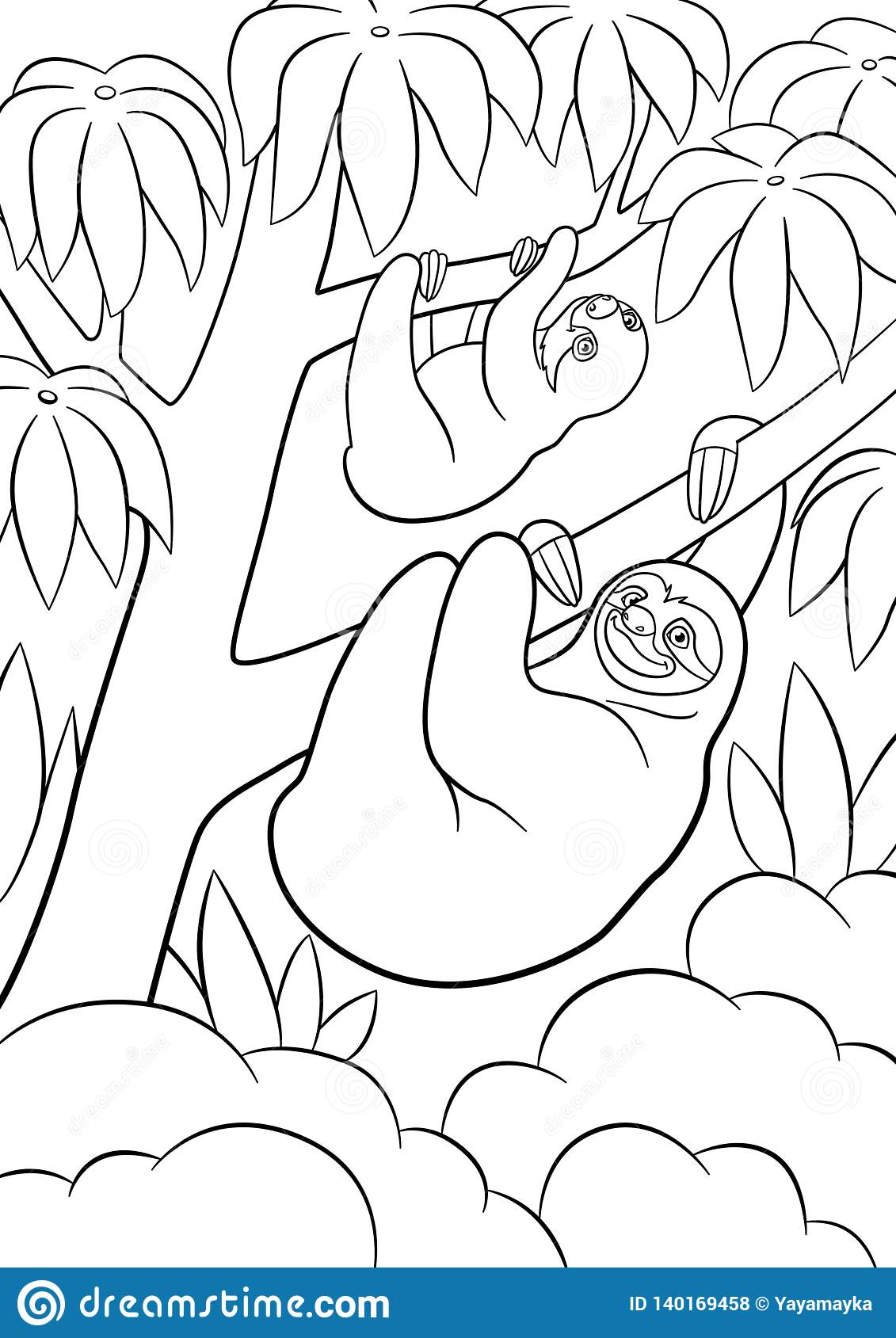 Coloring Pages. Mother Sloth With Her Little Cute Baby ...