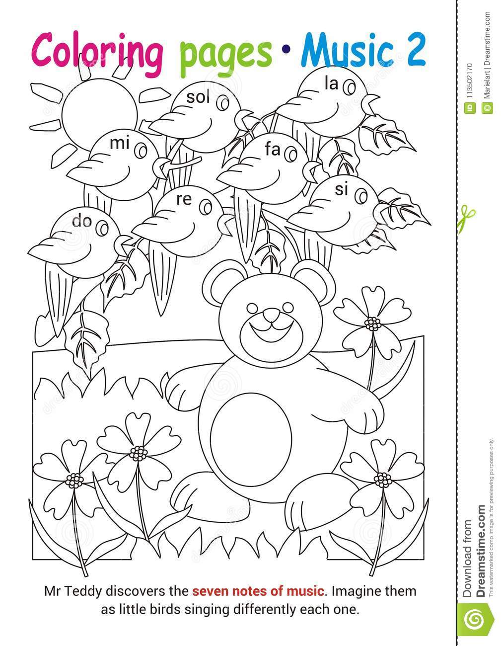 Coloring pages about music stock vector. Illustration of child ...