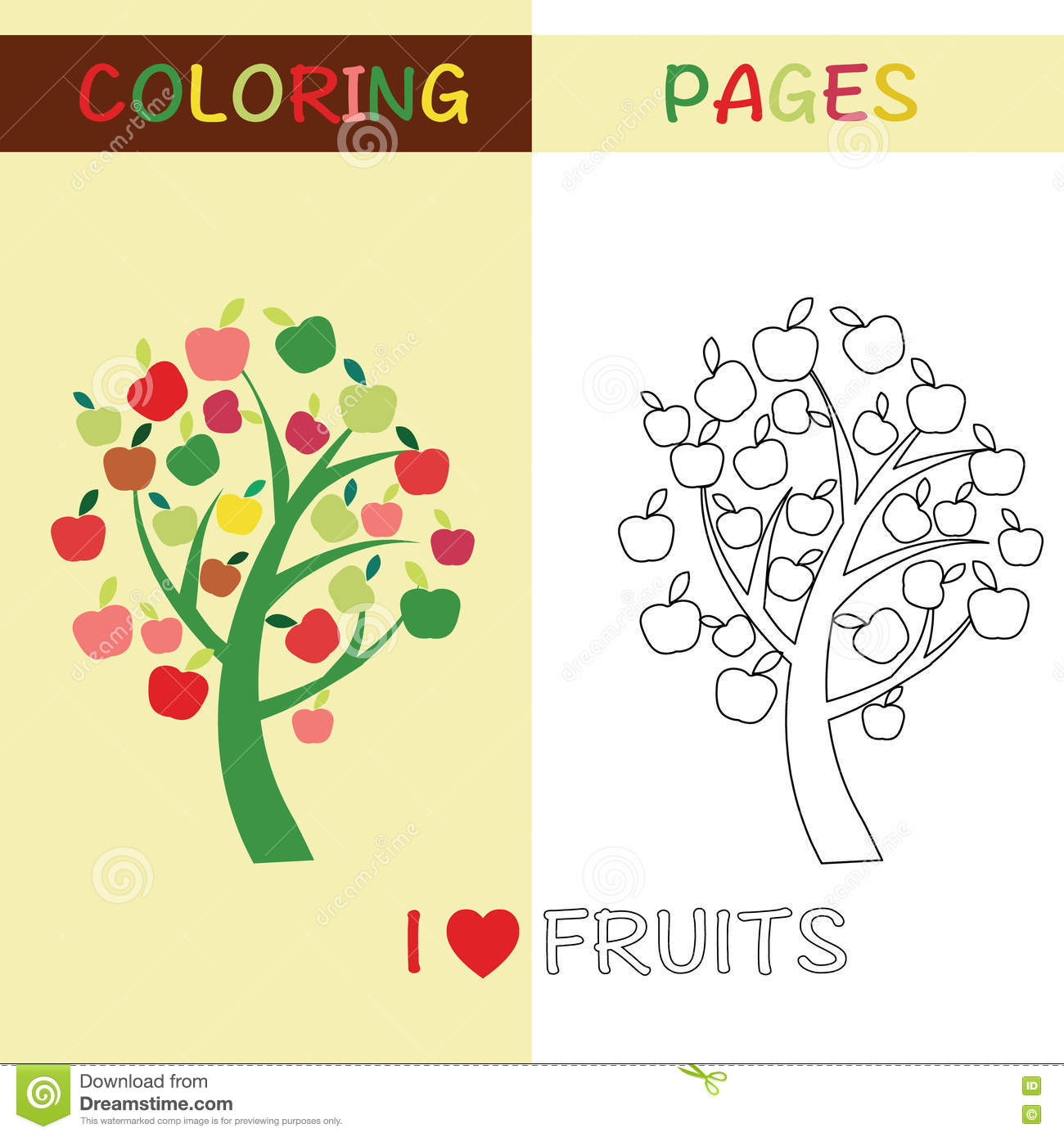 Coloring Pages Outline Apple Tree For Kids Stock Vector Image