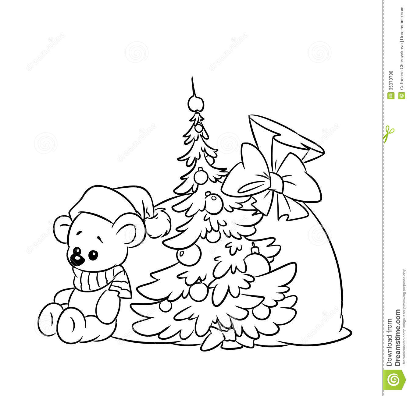 Coloring Pages Plush Teddy Christmas Stock Illustration