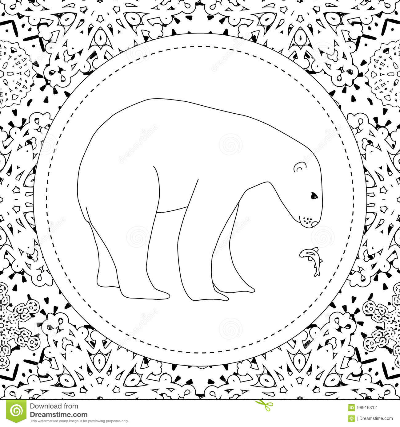 Coloring Pages. A Polar Bear Stands In The Snow. A Winter Postcard ...