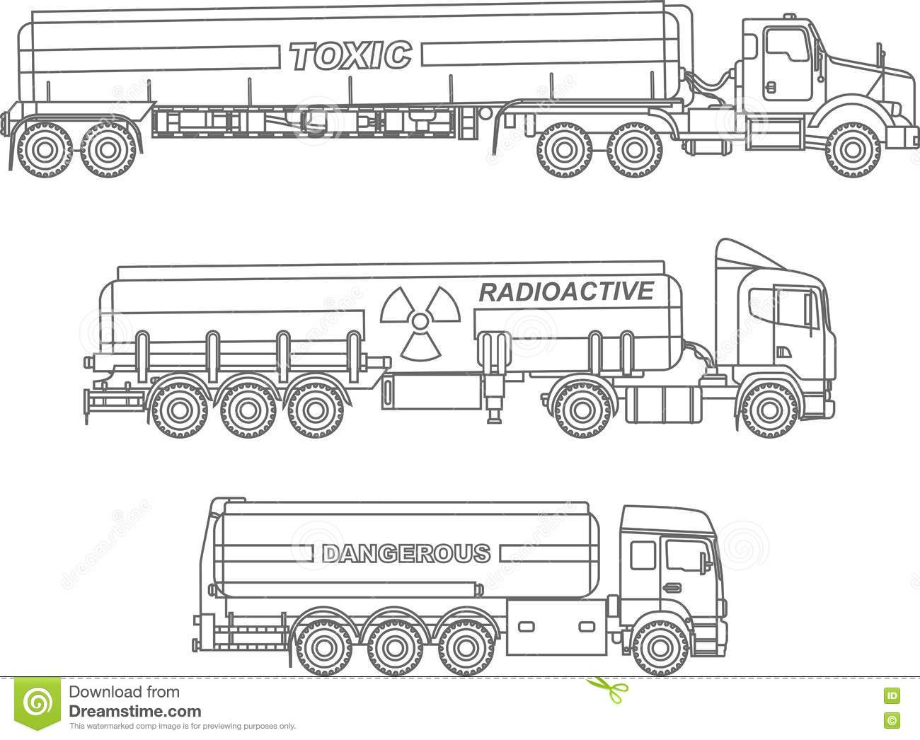 Coloring Pages Set Of Different Kind Cistern Trucks Carrying
