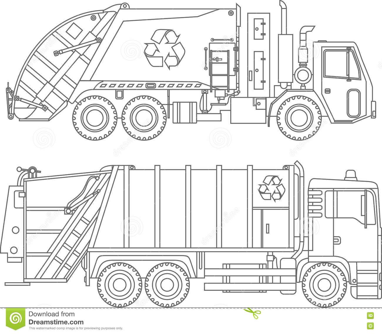 Coloring Pages Set Of Different Kind Garbage Trucks Flat Linear