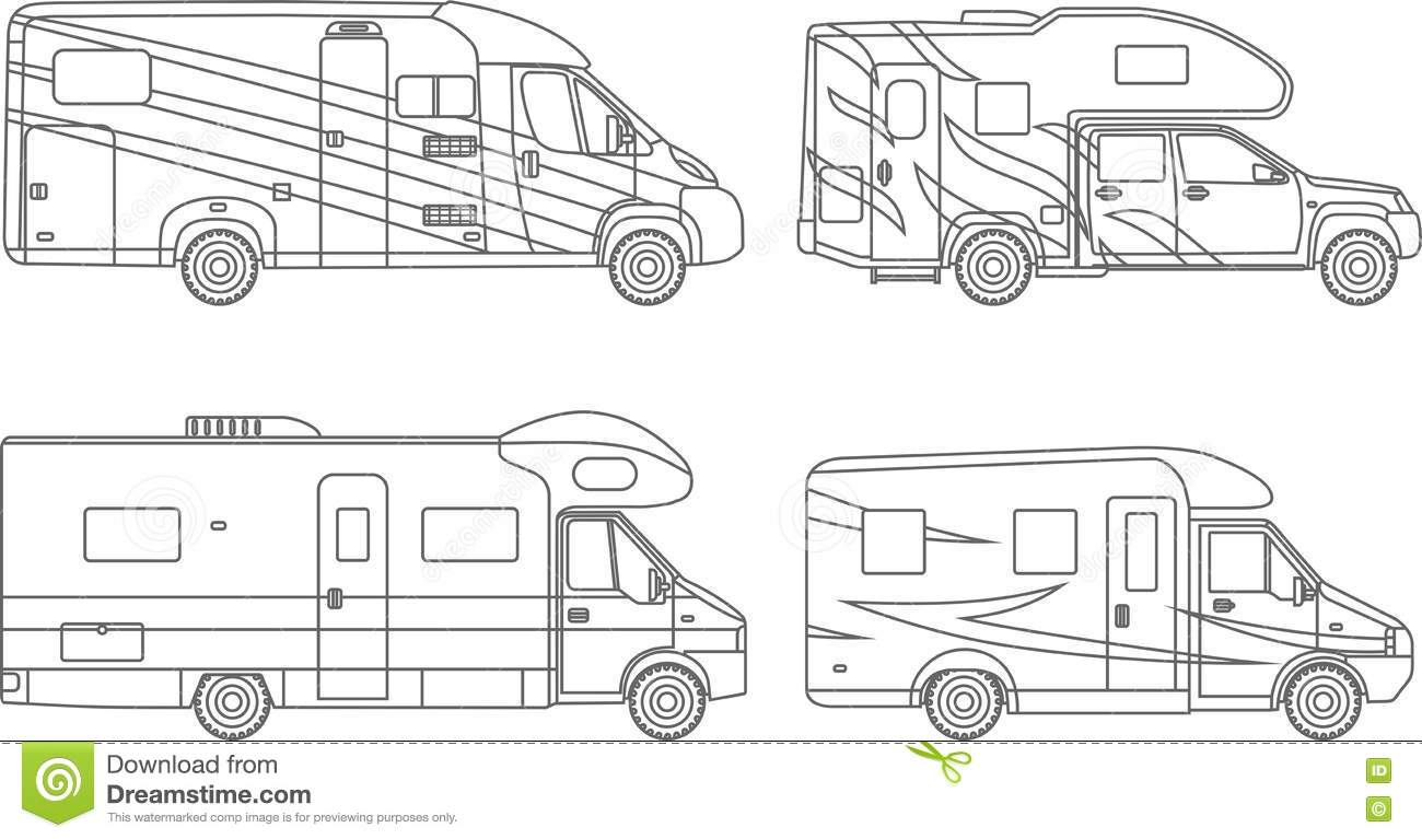 Set Of Different Silhouettes Travel Trailer Cartoon Vector