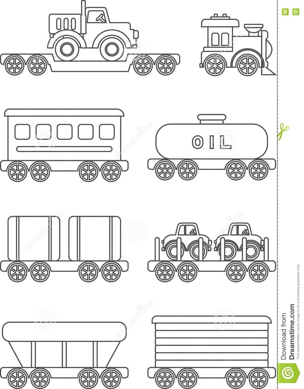 Coloring Pages Set Of Different Silhouettes Children Toys