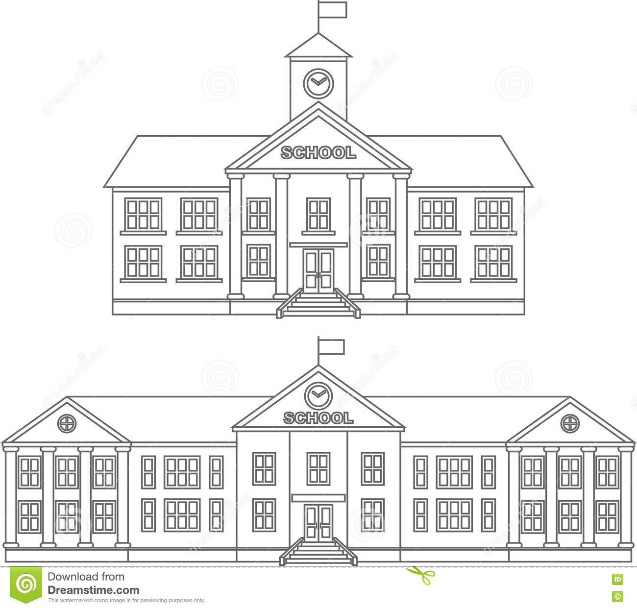 Coloring Pages Set Of Different Silhouettes School Building Flat