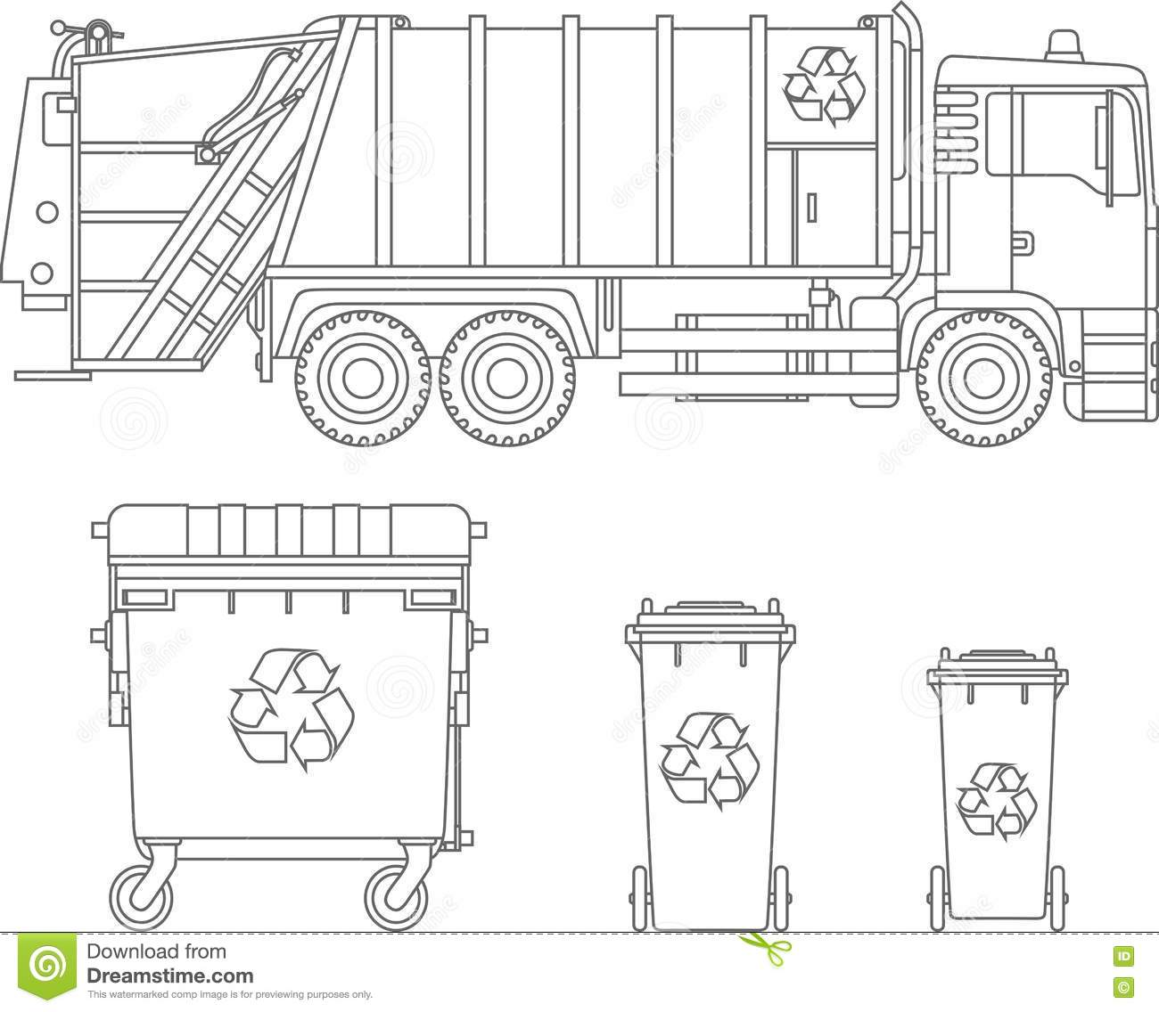 coloring pages  set of garbage truck and different types of dumpsters flat linear vector icons